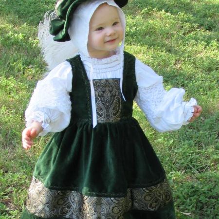 16th c. Green German style baby dress